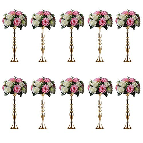 Sziqiqi 10 Pieces 50 Height Metal Candle Holder Candle Stand Wedding Centerpiece Event Road Lead Flower Rack (10Pcs, 50cm, Gold)