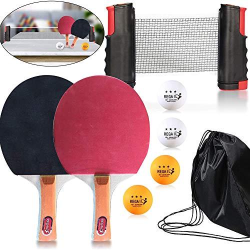 Tischtennis Set, Tischtennisschlaeger Set, Ping Pong Set mit 2 Tischtennis Schläger   4 Tischtennis Bälle   1 Einziehbare Tischtennisplatte und Beutel, für Anfänger und Profis
