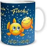 TRIOSK Tasse Smiley mit Spruch lustig Sternzeichen Fische Geburtstagstasse Geschenk für Frauen Männer Kollegen Geburtstag