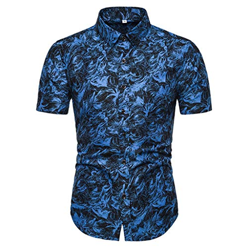 PANPANY Chemises Hawaiennes Homme Vintage Floral Imprimé Décontracté à Manches Courtes Chemises Casual Tops Chic