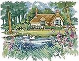 Kit punto croce per adulti - Riverside Lodge - kit punto croce fai da te principiante stampa arte artigianato ricamo tela decorazione della casa (tela prestampata 11CT) 40X50CM