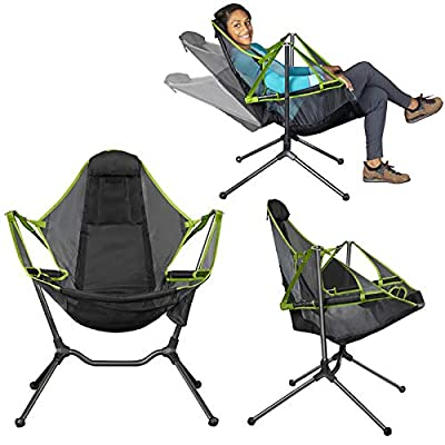 NUCHE Chair Camping Swing Luxury Recliner Relaxation Swinging Comfort Lean Back Outdoor Folding Chair(Dark Grey)