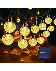 Usboo® lichtsnoeren op zonne energie, 60 warmwitte LEDs 10 meter voor buiten & binnen met kristallen bollen, waterdichte koperdraden voor decoraties, feesten, tuin, balkons, feesten, bruiloften, camping, etc.