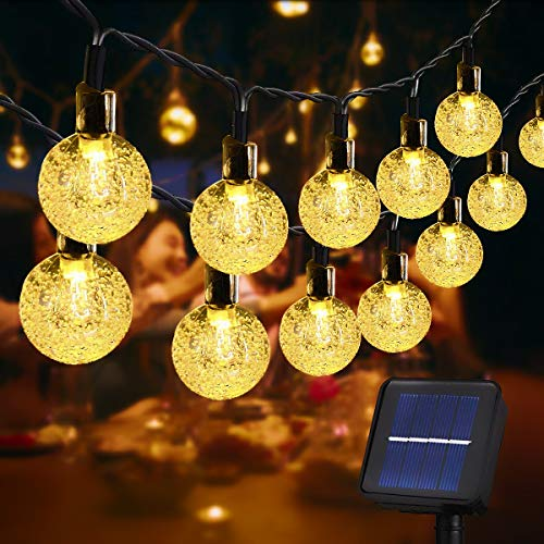Usboo® Solar Lichterkette, 10 Meter 60 warmweiße LEDs für Innen & Außen mit Kristallkugeln, wasserdichten Kupferdrähten für Zimmersdekorationen, Feste, Garten, Balkons, Partys, Hochzeiten, Kinder usw.