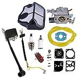 AISEN Bobine d'allumage, carburateur, bougie d'allumage, filtre à air, kit de réparation pour Husqvarna 136 137 141 142 36 41 142E