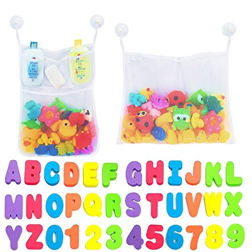 Comfylife 2 x Mesh Bath Toy Organizer + 6 Ultra Strong Hooks + 36 Bath Letters &...