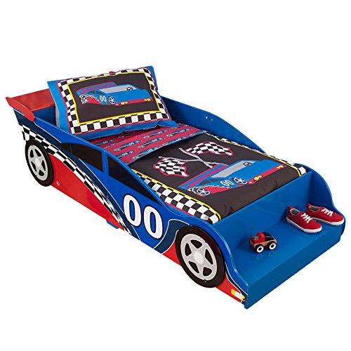 KidKraft- Race Car Estructura de cama para niños, de madera, estilo de coche de carreras, mobiliario de dormitorio , Color Multicolor (76038)