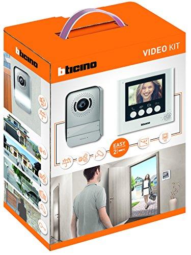 BTicino 316913 Kit Videocitofono 2 Fili, con posto esterno, monitor interno 4,3', idoneo per monofamiliare e predisposto per bifamiliare, bianco