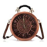 Angel Barcelo Crossover Purse and Handbags Fashion Womens Clock Process Shoulder bag Personalized Handbag Brown