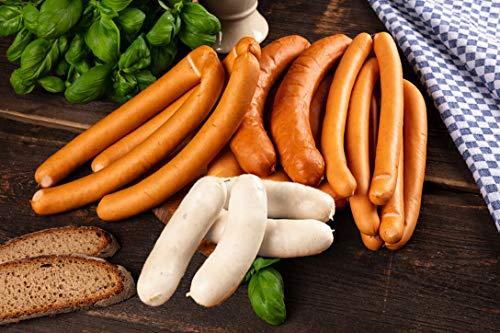 WURSTBARON® - Wurst Probierpaket - Currywurst, Wiener Würstchen, Käsekrainer, Käse, Wiener Weißwürste - 1600g