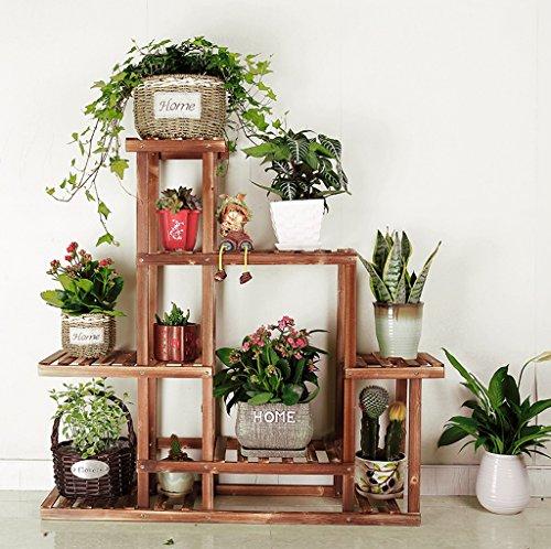Présentoir de fleurs en bois en bois Plateau en bois Placage en rack étagère extérieure Multi-étages Pots Holder
