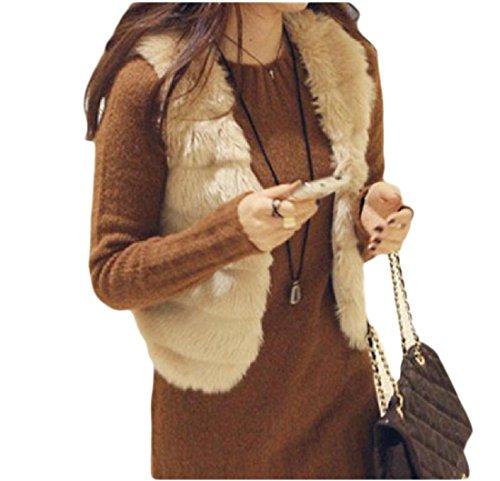 Comfy Womens Short Warm Pure Color Faux Fur Slim Outwear Jacket Vest Beige M