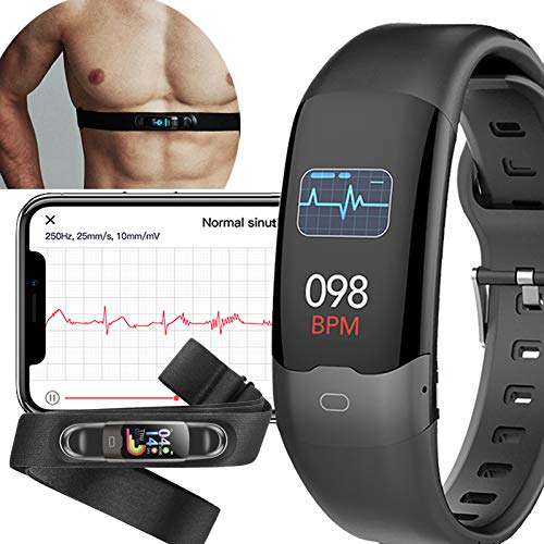 Photo of AUPALLA Activity Tracker With ECG Monitor Measure Pulse Oxygen Saturation SpO2 Blood Pressure Heart Rate HRV Sleep Monitor Steps Counting ECG Measurement with Chest Strap (Black)