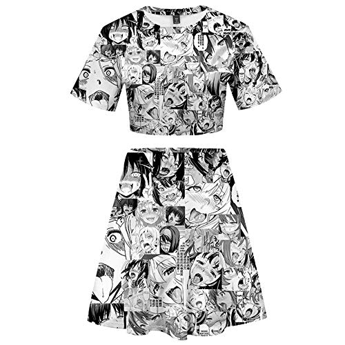 2 Piece Ahegao Outfits for Women Short Sleeve Crop Top and A Line Pencil Mini Skirts Sets (Ahegao Big Face, 2X-Large)