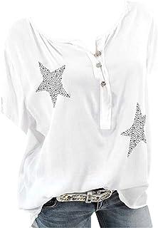 Camisa de Manga Corta de Botón de Mujer,Tallas Grandes Camisetas Mujer Manga Corta Camisas Mujer Verano Elegantes Estampad...