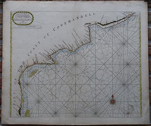 Antique Print-SEA CHART-INDIA-COROMANDEL-ARMAGAON-PETEPOLY-Thronton-1750