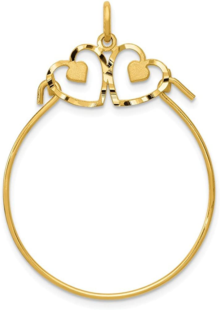 Solid 14k Yellow Gold Heart Charm Pendant Holder - 40mm x 25mm