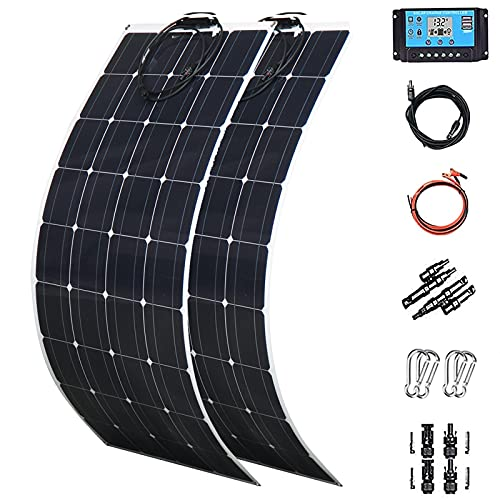 Solar Panels 2 X 300 Watt PET Flexible Solar Panel 600 Watt Monoctrystalline Solar System Kit Photovoltaic Module 40A Charge Controller Extension Cable for Home,RV,Caravan,Boat and Other Battery