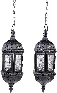 Nuptio 2 Pcs Hanging Candle Lantern Moroccan Chandelier Retro Candle Holder Moroccan Vintage Metal Hollow Wedding Hanging ...