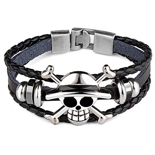Yovvin One Piece Armband, Retro One Piece Totenkopf Schädel Geflochtene Armbänder Armreif (Style 01)