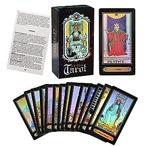 Tarot Cards Set, Surface Laser Tarot Deck with English Instructions Book, 78 Tarot Cards for Beginners