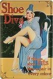 1645 Shoe Diva Nostalgie nice Girl 50 - Placa decorativa (20 x 30 cm), diseño de chica pin up...