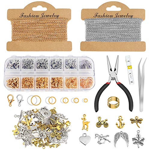 Jewellery Making Accessories Kit,Homgaty 15 Meter DIY Link Chain Twist Curb Chain with 60 Mixed Charms, 1000 Jump Rings, 40 Lobster Clasps and 4 DIY Tools for Beginners DIY Craft (Silver and Gold)