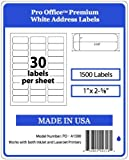 Pro Office Premium 1500 Self Adhesive Address Labels for Laser Printers and Ink Jet Printers White Made in USA 1 x 2.62 Inches Pack of 1500 Same Size As  08160 and More