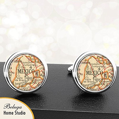 Map Cufflinks Mexico City Mexico Map Cufflinks Handmade Cuff Links Antique Maps