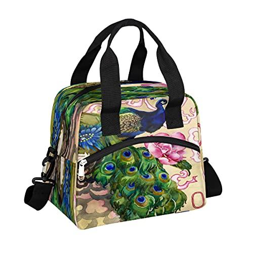 MOMOYU - Bolsa de almuerzo con aislamiento de loto, reutilizable, bolsa de picnic impermeable, organizador de almuerzo con correa de hombro ajustable para la escuela, playa, trabajo, deporte, viajes