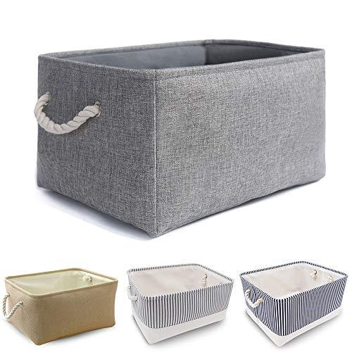 Faltbare verdickte Leinwand Aufbewahrungsbox mit Griffen für Schrank / Garderobe (Grau, Mittel)