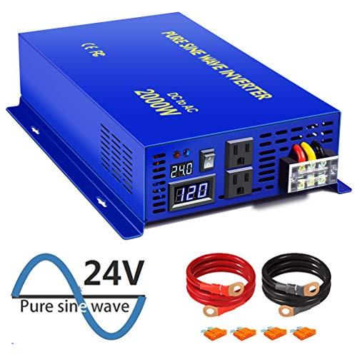XYZ INVT 2000 Watt Pure Sine Wave Inverter 24V DC to AC 110v 120V, 2000W Power Invert Surge 2000W Power Converter for Car RV Solar System. (2000W 24V 120V)