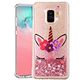 ISADENSER Samsung J6 2018 Cover Galaxy J6 2018 Case Clear TPU Glitter Stylish Design with 3D Hearts Quicksand Shiny Flowing Liquid Protective Case Cover for Samsung Galaxy J6 2018 Sleeping Unicorn XY