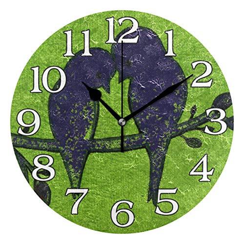 linomo Wanduhr, niedliche Tier-Vogelbaum, Vintage, geräuschlos, Nicht tickend, runde Uhr für Küche, Wohnzimmer, Schlafzimmer, Badezimmer, Büro