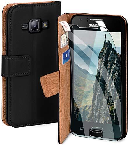 moex Handyhülle für Samsung Galaxy J1 (2015) - Hülle mit Kartenfach, Geldfach und Ständer, Klapphülle, PU Leder Book Case und Schutzfolie - Schwarz
