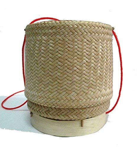"Thai Lao Handmade Sticky Rice Serving Bamboo Basket /5.5""x4.75"""