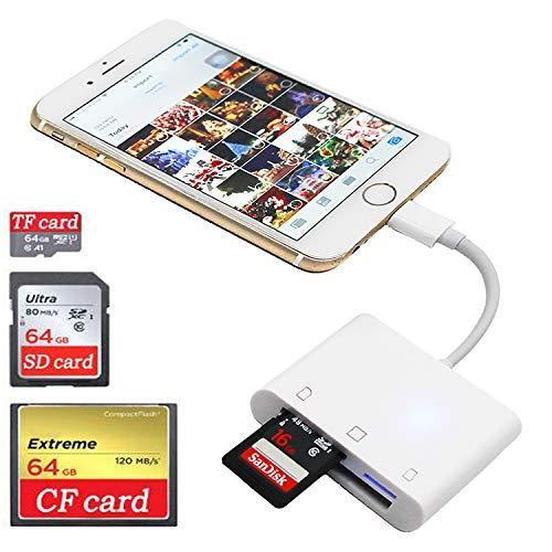 SD CF Card Reader for iPhone iPad iPad pro Camera Card Reader Adapter Memory Card Reader Adapter Digital Camera Reader for iPhone Xs Max/Xs/X/8 Plus/8/7 Plus/7/iPad Mini/Air No App Require