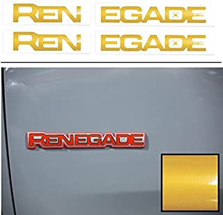 Reflective Concepts RENEGADE Emblem Inlay Decal Stickers for 2015-2019 Jeep Renegade - (Color: Reflective Gold)
