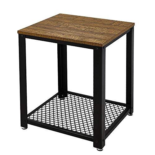 JJZXD Fine del Divano Tavolino da caffè Comodino Tavolo da Salotto Stile Vintage Industriale in Legno Ferro da caffè in Metallo Tavolini Mobili per la casa