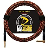 Guitar Cable 10 ft - 1/4 Inch Right Angle Red Instrument Cable - Professional Quality Electric Guitar Cord and Amp Cable - Low Noise Bass and Guitar Cables - Reliable Cords for a Clean Clear Tone