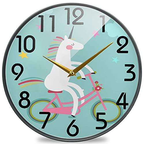 Lindo Reloj de Pared Redondo de Dibujos Animados n Ride en Bicicleta, silencioso Reloj de Escritorio silencioso analógico de Cuarzo con Pilas para el hogar, la Oficina, la Escuela