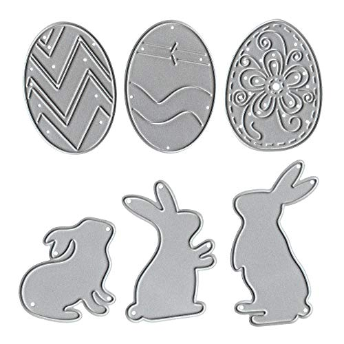 Metal Easter Three Cute Bunny Little Rabbits Cutting Dies,Easter Three Hollow Eggs Die Cuts Embossing Stencils Template Mould for Card Scrapbooking and DIY Craft Album Paper Card Decor