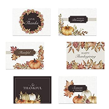 Traditional Thanksgiving Card Assortment / 24 Watercolor Autumn Note Cards/Classic Fall Greeting Cards