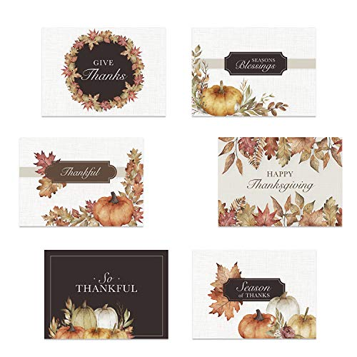 Traditional Thanksgiving Card Assortment / 24 Watercolor Autumn Note Cards / Classic Fall Greeting Cards