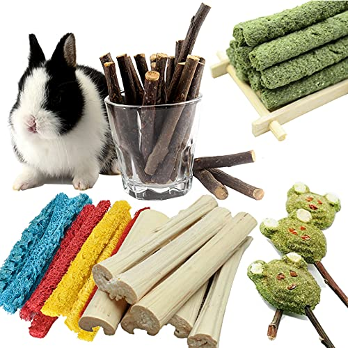 5PCS Guinea Pig Toys, Natural Chinchilla Treats, Teeth Care Toys, Help The Healthy Growth of Small Pet Teeth, for Chinchilla Squirrel Gerbil Hamster Squirrel Guinea Pigs Etc