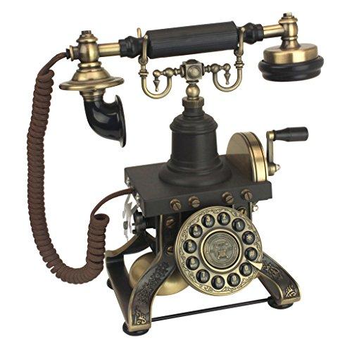 Design Toscano Antique Eiffel Tower 1892 Rotary Corded Retro Phone - Vintage Decorative Telephones, Bronze