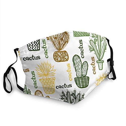 SundriesShop Staubdichte Winddichte Gesichtsmaske, flach mit saftigen Pflanzen und Kakteen in Töpfen Wiederverwendbare, waschbare Tücher, Gesichtsabdeckung, Abdeckung für Staub Männer Frauen