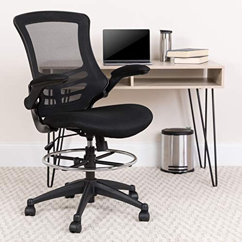 Flash Furniture Mid-Back Black Mesh Ergonomic Drafting Chair with Adjustable...