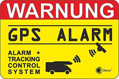 iSecur 2er Set Hinweis-Aufkleber GPS Alarm Tracking System I 6 x 4 cm außenklebend I Achtung Warnung GPS Alarm-gesichert Wohnmobil Wohnwagen I hin_005