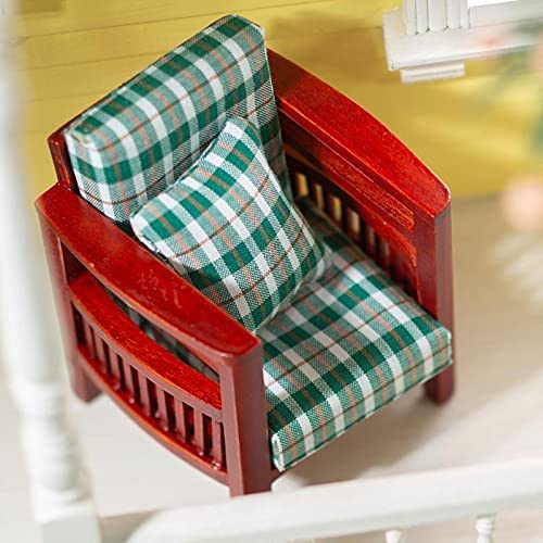 factorydirectcraft Green Plaid and Super beauty product restock Genuine quality top Mahogany Doll M House Chair -